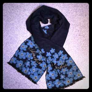 Accessories - Knitted Rayon Navy Floral Alaska Scarf
